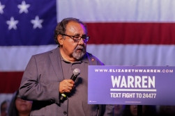 Rep. Raul Grijalva, D-Tucson, who endorsed Warren's presidential bid earlier this week, introduced the senator on stage. (Photo by Grayson Schmidt/Cronkite News)